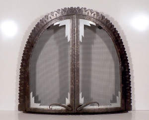 Ironwork / 'Kiva' Fireplace Screen Doors / Forged Steel & Tin