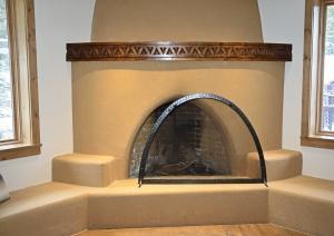 Ironwork / 'Kiva' Fireplace Screen / Forged Steel / Taos, NM / Blake Hotel