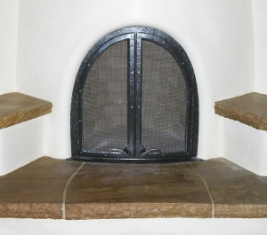 Ironwork / 'Kiva' Fireplace Screen Doors / Forged Steel / Santa Fe, NM / Las Campanas