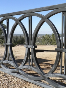 "Entry Gate / 'Rings' Design / Welded Steel / 14' x 44""/ Tesuque, NM / Detail"