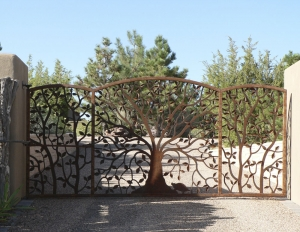 Ironwork / 'Tree-of-Life' Gate / Forged Steel / Santa Fe, NM / Vista Redonda