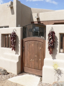 Entry Gates / 'Zia' Design / Forged & Welded Steel, Wood / Santa Fe, NM / Eldorado