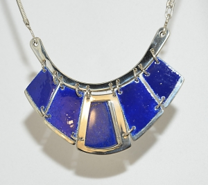 Silver Necklace with Lapis and Enamel