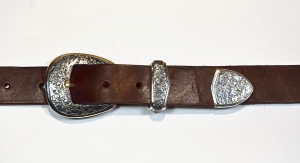 Belt Buckles / 3 Piece Ranger Set / Dark Patina & Texture / Silver 925