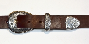 Buckle Set / 3 Piece Ranger Set / Dark Patina & Texture / Silver 925