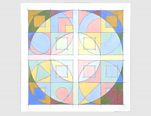Circles Squares (Abstract Squares #1) 1991 / Oil Painting / ©David Larson