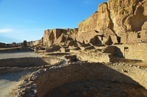 Kivas, Ruins, and Cliffs at Chaco Canyon NHP
