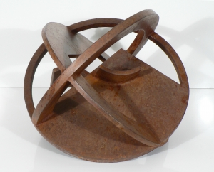"'Orbital #1' David Larson / 1996 / steel / 16"" diameter x 12"" high"