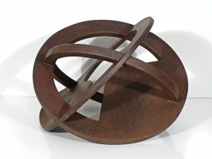 "'Orbital #2' David Larson / 1997 / steel / 16"" diameter x 12"" high"