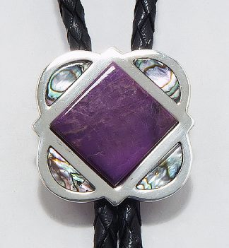 bola tie with sugilite and shell